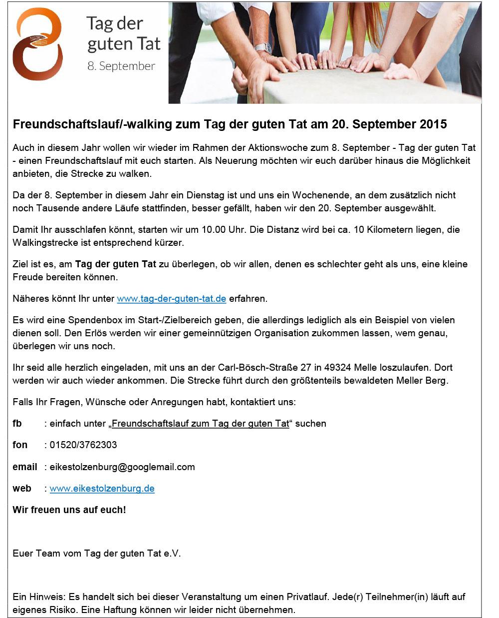 Einladung zum Laufen/Walken am 20.09.2015 im Rahmen der Aktion 8 ...